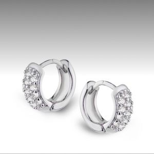 CZ by Kenneth Lane Mini Pave' Huggie Hoop Earrings